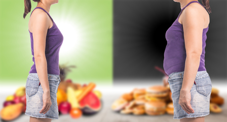 healthy and unhealthy food with woman concept