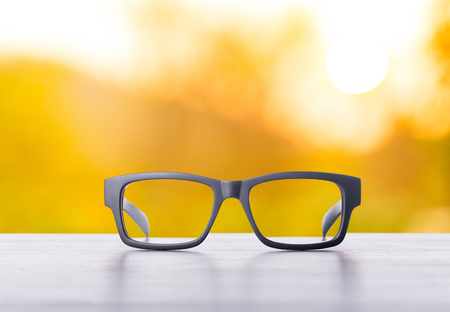 Vision glasses focus in the nature garden. Stock Photo