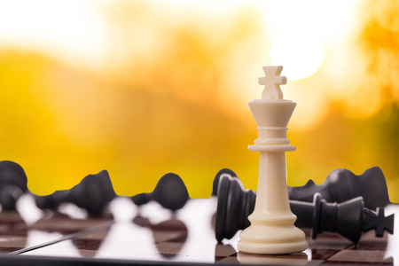Competition business concept with chess game. Stok Fotoğraf - 83757542