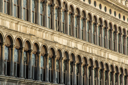 Repeating windows patterns of Doges Palace in Saint marks square in Venice, Italy Editorial