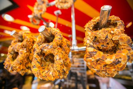 pretzel: Pretzel soft snack in front of Cologne cathedral Stock Photo