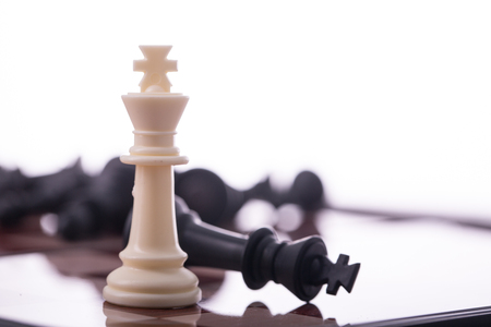 battle plan: Competition chess business concept for your leadership for success game. Stock Photo