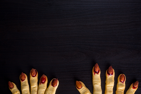 Zombie finger cookie food for halloween holiday.