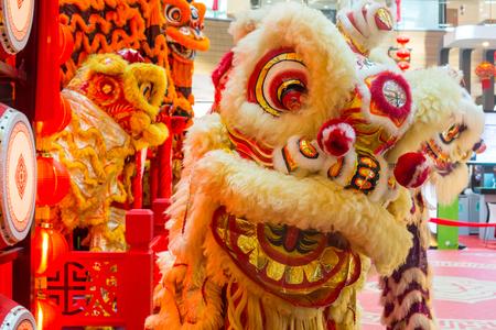 Cultura chinesa da dança de leão do ano novo de China. Foto de archivo - 92495137