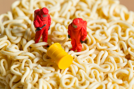 Dangerous food scientist check material for find danger root cause. Standard-Bild - 99307514