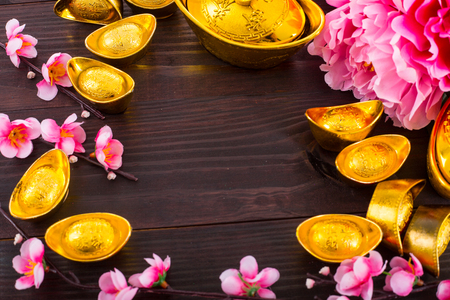 Traditional decorate for celebrate in new year ,that Chinese text mean good luck and new start your life. Stock Photo