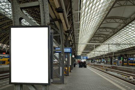 Media blank black and white modern white board signboard and advertisemnet in train station.