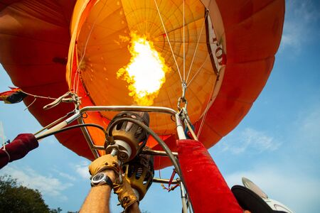 Hot balloon prepare to fly to the sky Standard-Bild