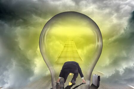 lamp bulb idea way business concept. Standard-Bild