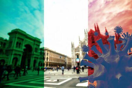 Covid-19 virus disease around Milan ,Italy