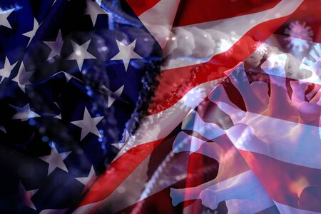Corona virus with United state flag background. Standard-Bild