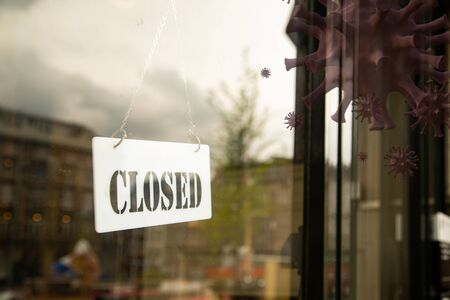 Store closed because of prevent covid-19 with sign board