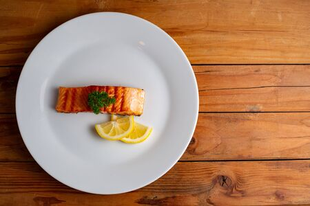 Salmon fish japansee food on the table Standard-Bild