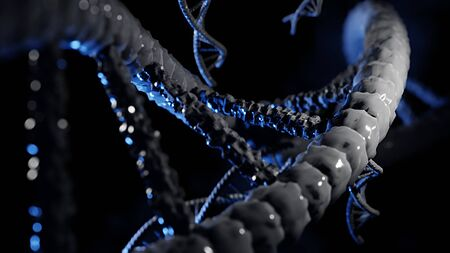DNA  element human micro structure with 3D image