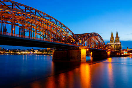 Cologne cathedral and river bridge landmark ,Garmany Editorial