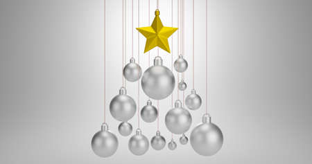 3D rendering of decoration object christmas ball and golden star .Hanging season happy new year.