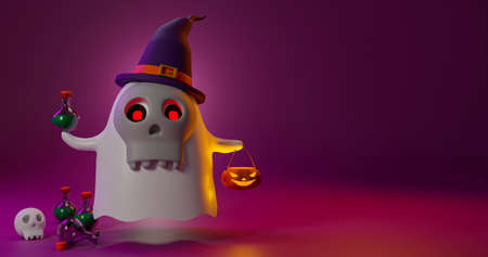 3D rendering of ghost wear witch hat on party halloween day.Cute cartoon scary moster holding poison bottle.