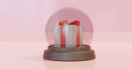 3D rendering of gift box inside glass ball for show on Christmas day.Shopping day.