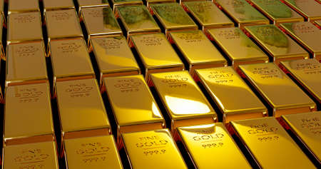 3D rendering stack Gold Bars, weight 1000 grams.Wealth concept for your business success and finance.Billionaire commercial. Standard-Bild
