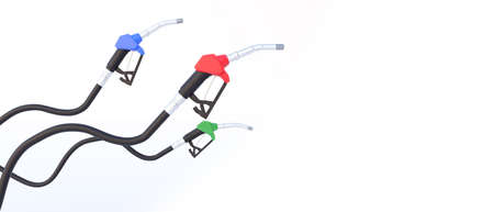 Three fuel nozzle green ,red and blue color with competition concept.Petroleum oil Standard-Bild