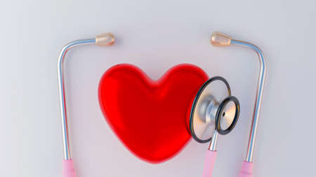 3D rendering Stethoscope and heart.Red love for cardiologist health medical equipment. Standard-Bild