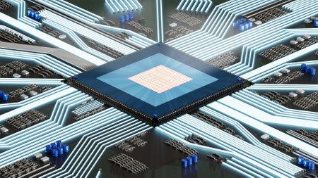 3D rendering CPU processor block chain system with cuircuit board.Industrial equipment microcircuit data GPU futuirstic computer board.