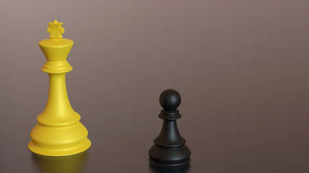 3D rendering competition with chess game during king and slave. Advantage leadership for challenge and fight business .