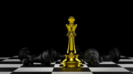 3D rendering competition golden king  versus chess slave. Advantage leadership for challenge and fight business .