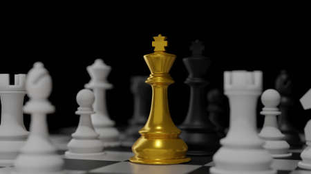 3D rendering different for competition gold king  versus slave chess. Advantage leadership for challenge and fight business .