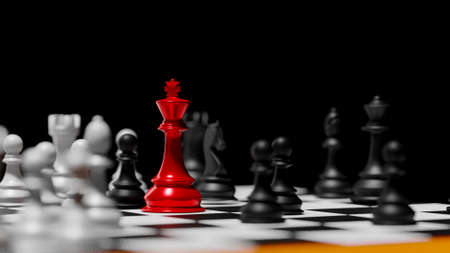 3D rendering different for competition red king  versus slave chess. Advantage leadership for challenge and fight business .