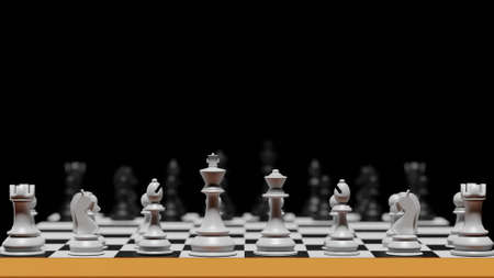 3D rendering different for competition war chess with strategic intelligence for your development business. Advantage leadership for challenge and fight business .