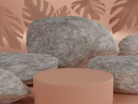 Abstract geometric stone shape for a mockup for pod podium display and showcase Standard-Bild