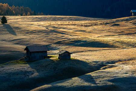 Small vallage farm field of natural landmark of Bolzano ,Italy. Standard-Bild