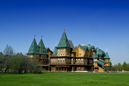 Log Palace in Moscow in Park Kolomenskoye, copy of palace of russian Tsar Aleksey Mikhailovich Romanov, 17th century  Stock Photo - 21900701