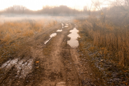 grime: Forbidden countryside road in field at autumn fogy morning. Romantic, melancholy, serenity, tranquil view. Puddle, dirt, road grime, mud and thin ice.  Stock Photo