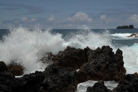 Crashing Wave on Rocks