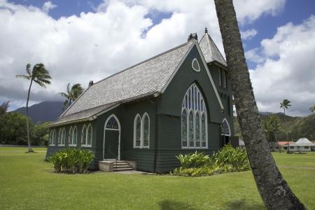 Hanalei green church on the island of Kauai