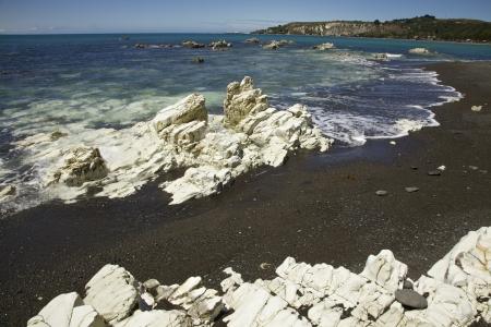 White rocks among the Kaikoura shoreline Stock Photo