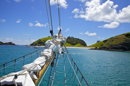 Sailing in the beautiful Bay of Islands on a summer day in New Zealand.
