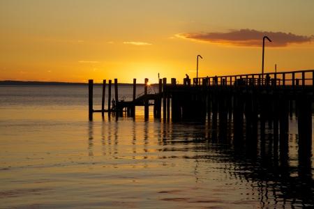 Sunset on the Dock at Fraser Island, Australia