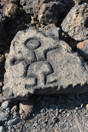 Petroglyphs found carved in volcanic rocks in Hawaii