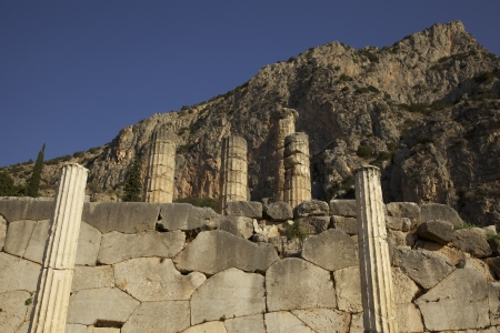 The remaining columns of the Temple of Apollo at Delphi in Greece. photo