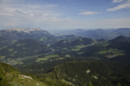 View of European Alps. From Berchtesgaden, Germany. Salzburg Austria is in the distance.