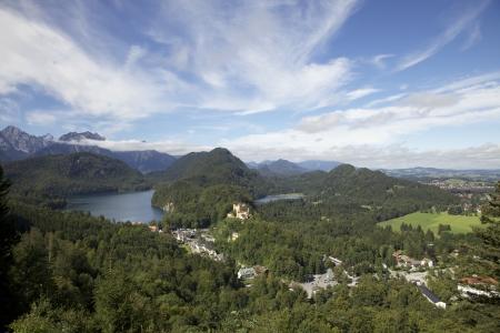 berchtesgaden: View of European Alps and Berchtesgaden, Germany. Stock Photo