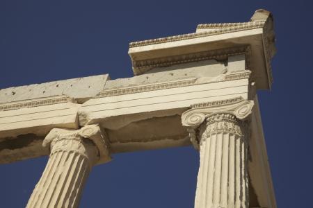 Greek marble columns on the Acropolis, Athens Greece Stock Photo