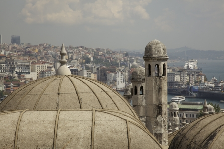 The old and new architecture of Istanbul  Looking towards the Asia side   Stock Photo