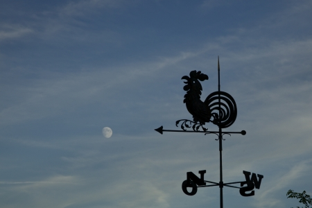 Silhouette Rooster Weathervane pointing towards the moon  Taken at Melk Abbey in Austria