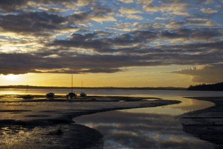 Open sky sunset with sailboats stuck in the low tide mud  Auckland New Zealand  Stock Photo
