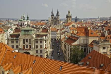Prague  Orange rooftops with Virgin Maria Tyn Church in background