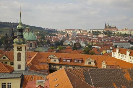 Prague  Orange rooftops and historic architecture Stock Photo